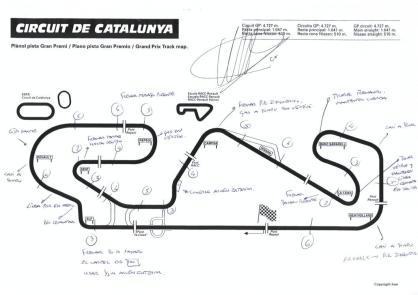 The Catalunya Race Circuit, annotated with remarks by racind griver Pedro de la Rosa