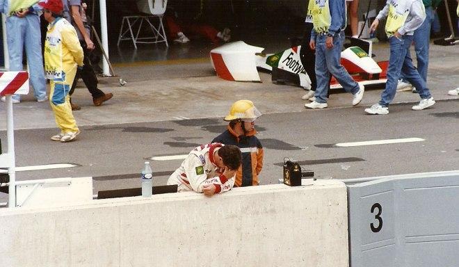 Footwork driver Dereck Warwick during the Saturday tests