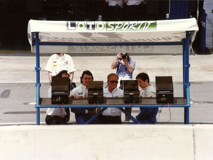 Ligier drivers Blundell (left) and Brundle (right) at the pit wall during the Saturday tests