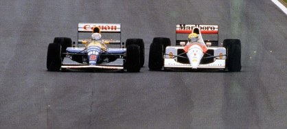 Spanish GP 1991: Mansell and Senna were separated by mere centimetres as they battled for the lead (Source: DailyMail)