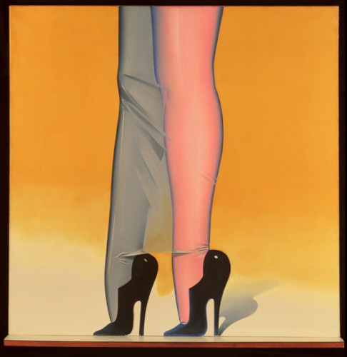 Allen Jones, First Step, 1966, oil on canvas and laminated shelf