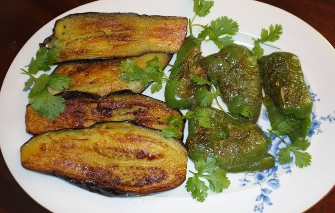 Fried eggplants and peppers