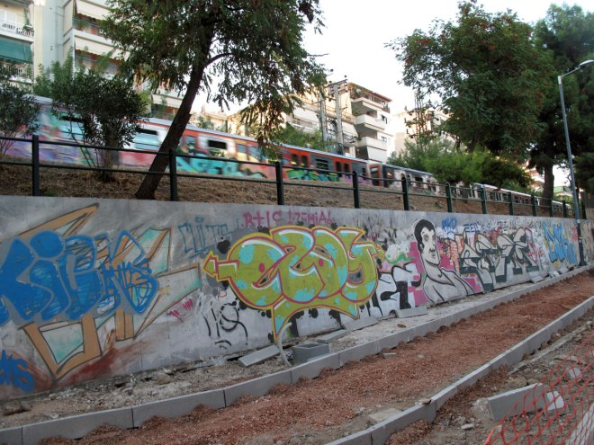 The train that divides Petralona in two parts