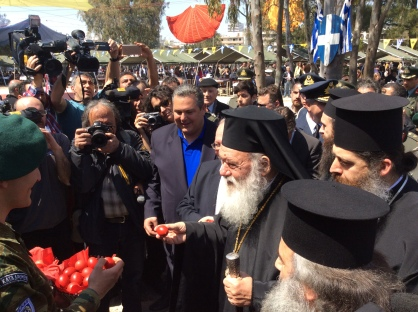 Defence Minister KAmmenos and the Greek Church Archbishop during the Greek Easter celebrations in Athens