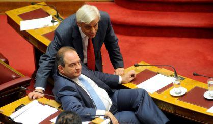 Mr Kostas Karamanlis with Mr Prokopis Pavlopoulos when Mr Karamanlis was Prime Minister