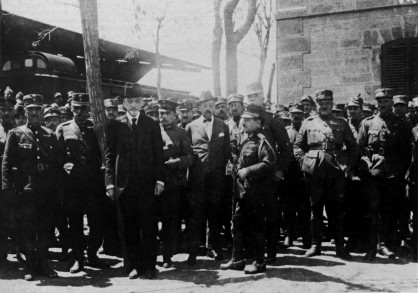 Prime Minister Gounaris with other officials in Minor Asia, 1921. Gounaris was executed in Goudi, on the 15 November 1922.