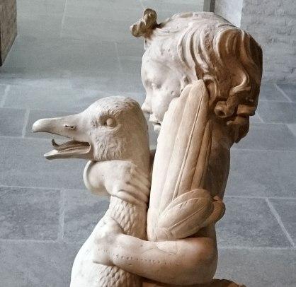 Roman copy of Hellenistic sculpture, Boy with Goose. Glyptothek, Munich. - Detail