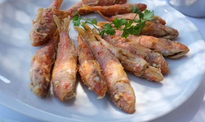 Fried red mullet, Lambros restaurant, Vouliagmeni, Athens, Greece
