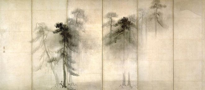 "Hasegawa Tōhaku (1539-1610). ""Pine trees"", end of the 16th century. Ink on paper. National Museum, Tokyo."
