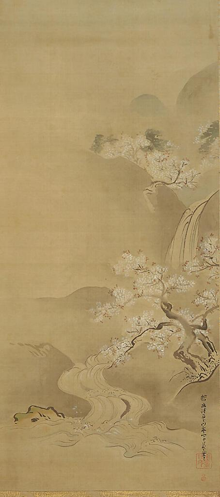 "Kanō Tanyū (狩野 探幽, 1602 – 1674). ""Spring Landscape"" hanging scroll, 1672. Ink and tint on silk. Freer Gallery of Art, Washington."