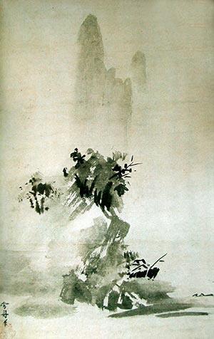 """Sesshū (1420-1506) """"Landscape"""", 1495. Vertical hanging scroll, ink on paper. National Museum, Tokyo."""