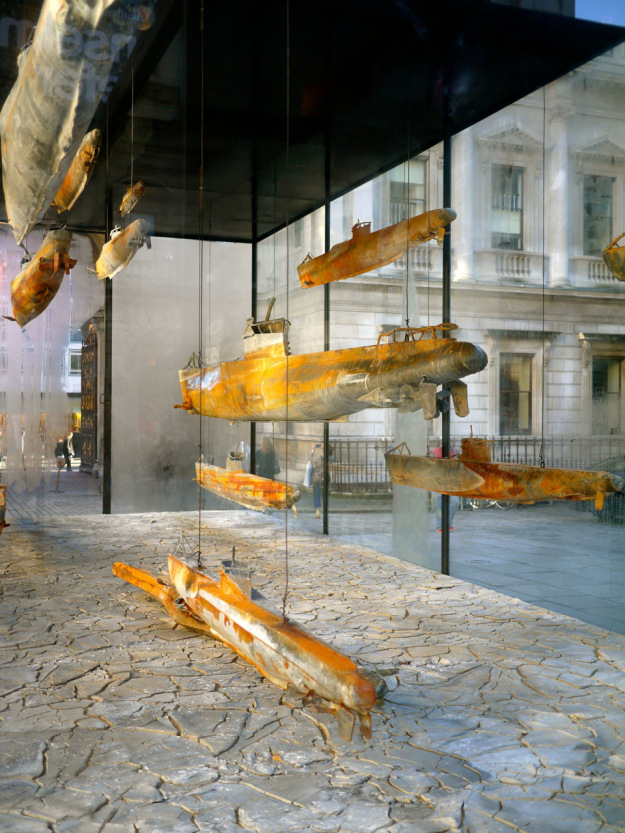 Submarines in the courtyard of the Royal Academy of Arts, London, Photo http://godsavethescene.me/tag/art/